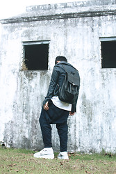 Karl Philip Leuterio - Comme Des Garçons Pinstriped Drop Crotch Pants, Navy Leather, Calvin Klein Navy Leather Backpack, Gold Dot Creepers - NAVY time
