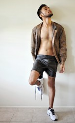 Larrend L. - By Karl Leuterio Leather Shorts, Roger David Leather Bomber Jacket, Nike Trainers - Skin + leather