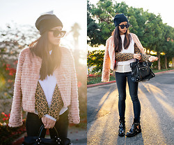 Jenny Ong - Asos Angora Beanie, For Love & Lemons Faux Fur Coat, Balenciaga Boots, Genetic Denim Dark Gray Skinnies - The fuzz