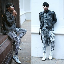 Askia Abdull - Tripp Nyc Slpattered Paint Pants, Hickies Elastic Laces, Dr. Martens White Boots - Stomping Prints