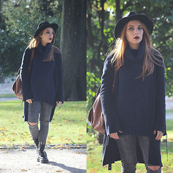 Cátia Gonçalves - Parfois Hat, Pull & Bear Ripped Jeans, Bershka Sweater, Mango Cardigan, Dr. Martens Chunky Boots, Backpack - When shadows fall