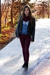 Andreea Mircea - Chic Wish Dip Dyed Denim Shirt, Primark Burgundy Pants, Boohoo Studded Boots, New Yorker Jacket - A hint of burgundy