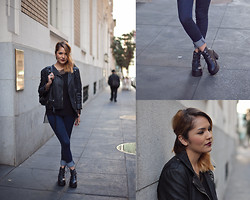 Estefania Pino - Silent Noise Vegan Leather Jacket, Urban Outfitters Mesh Top, Nasty Gal Blue Jeans, Sammydress Boots - She Inside Giveaway!