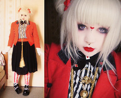 Chrysalis Batlace - H&M Striped Blouse, Vintage Red Jacket, Demonia Babydoll Shoes, Taobao Alice Tights - Queen of Heart