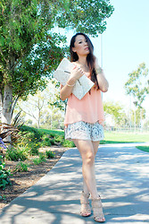 Kimberly Luu - Coral Top, Lace Shorts, Pelle Moda Heels, Poppie Jones Clutch - Burst of Coral #outfit