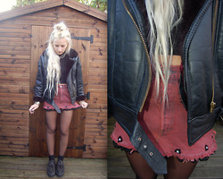 Nicola Boraston - Parody Clothing Burgandaisy Denim Skirt, Vintage Fur Lined Leather Jacket, Underground Creepers, American Apparel Turtle Neck Crop - BURGANDAISY