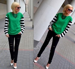 TA MAGDAA - Persun Jamper, I Am Necklace, Stradivarius Pants - Black and white strips,green and white heels