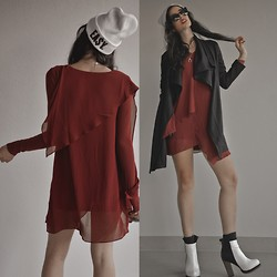 Elle-May Leckenby - Draping Red Shift Dress, Ea$Y White Beanie, Lamixx Draped Coat, Black Cat Framed Eyewear, Colour Block Boots - Easy going