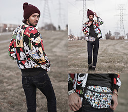 Bobby Raffin - Forever 21 Mickey Print Jacket, Forever 21 Disney Fanny Pack - Disney x Forever 21 Mickey & Co.