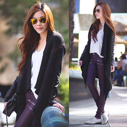 Jenny Tsang - Cardigan, Coated Jeans - Waterfall Cardigan & Coated Jeans
