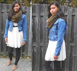 Allyson M - H&M Scarf, Tommy Hilfiger Denim Jacket, Francesca's Dress, Uniqlo Tights, Forever 21 Oxfords - Denim, Lace and Earth Tones