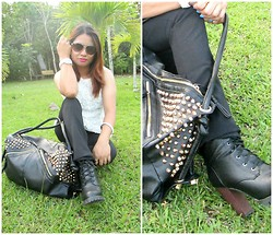 Melandria Romero - Romwe White Vest, East Clothes Boots, Frontrowshop Black Slim Pants, East Clothes Black Studded Bag, Isprout White Eco Friendly Watch, Sketchers Sunglasses - Dry your tears