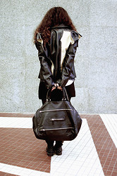 Sandra Kisić - H&M Leather Jacket, Black Secret Bag, Zara Quilted Shorts, Diesel Studded Boots - Ragged