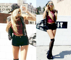 Alexa Villa - Thrift Shop Studded Vest, Forever 21 High Waisted Pleather Shorts, Studded Hat - You're a stud
