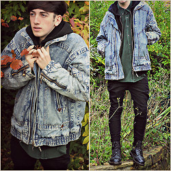 Dan Furness - Vintage Denim Jacket, Primark Black Jeans, Dr. Martens Doc, Urban Outfitters Corduroy Shirt, Topman Hoodie - Autumn layers