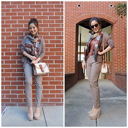 Kimberly Kong - Oasap Batwing Cardigan, Charlotte Russe Scarf, Vince Skinnies, Vintage Dooney Bag, Deb Wedges - Wardrobe Must-have:  The Oversized Cardigan