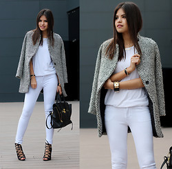 Adriana Gastélum - Sheinside Coat, 3.1 Phillip Lim Pashli Satchel, Windsor Lace Up Sandals - Grey coat