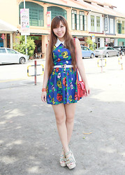 Esther Xie - Floral Dress, Wedges, Red Bag - Monday Blues