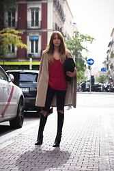 Lucita Y - H&M Coat, Zara Lingerie Shirt - TOUCH OF RED