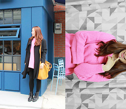La Yeon Kim - Yellow Big Bag, Dahong Pink Sweater, Black Coat, Black Lace Up Boots - I GOT PINK
