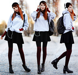 Ebba Zingmark - Dream But Do Not Sleep Hoodie, Romwe Backpack, Choies Skirt, Vagabond Boots, H&M Socks, Frontrowshop Polo Top - D-R-E-A-M