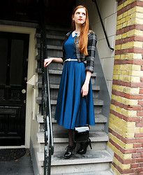 Sonja Vogel - Self Made Petrol Blue Circle Dress, Vila Short Jacket, H&M Collar Necklace, H&M Thin Belt, Van Haren Patent Heeled Brogues - The Self Made Circle Dress in Fall