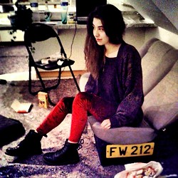 Laurence S. - Dr. Martens Doc, Romwe Velvet Leggins, Urban Outfitters Cardigan - Dazed and Confused