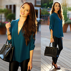 Jessica R. - Shop Sosie Teal Top, Shani Jacobi Gold Necklace, Prada Black Tote, Ivanka Trump Dark Red Patent Heels - Dance Teal Dawn