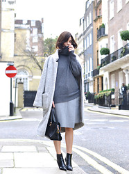 Hedvig ... - Acne Studios Wool Skirt, Joseph Cashmere Knit, Ganni Coat, Jimmy Choo Boots - Colourless