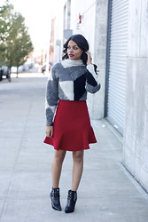 Erica Lavelanet - Dana Maxx Geo Print Cropped Sweater, Nonoo High Waisted Red Peplum Skirt, Michael Kors Black Buckle Booties - Geo Print Sweater