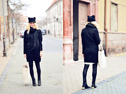 Julianna Ivicic - Gate Hat, H&M Wool Jacket, Mango Sweater Dress, Topshop Boots - Catty cat