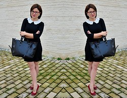 Chocolate Fashion Coffee - Deichmann Killer Red High Heels, Zara Black Bag, Persun Peter Pan Collar Dress - Peter Pan collar dress