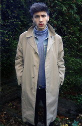 David Whitfield - American Apparel Roll Neck Sweater, American Apparel Denim Jacket, Vintage Flasher Trench, American Apparel Slim Belt, Topman Skinny Jeans - Instagram: dvd_ian