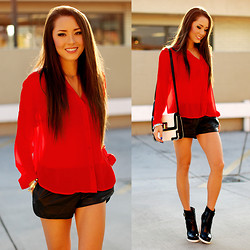Jessica R. - Shoppiin Loose Pleather Shorts, Red Chiffon Blouse, Express Black And White Bag, Pixie Market Ochoa Boots - Red, White and Black