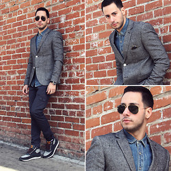 Reinaldo Irizarry - Topman Denim Shirt, Topman Tweed Blazer, Levi's® Cargo Jeans, Ray Ban Aviator Sunglasses, Levi's® Field Boot Sneakers, Nautica Watch - THE TWEED & DENIM COMBO