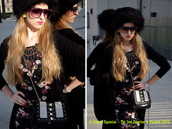 Andrea Fapassion - H&M Black Fake Fur Collar Used As Cap, Faux Pas, Violet Sunglasses, Neon Pyramid Earrings, H&M Necklace, Mango Black Cardigan, H&M Flower Patterned Dress With Lace, H&M Studded Purse - The Lost Equation To Pyramid