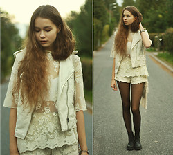 Elina I - H&M Pleather Vest, Mango Lace T Shirt, Etsy Crochet Bustier, Chic Wish Lace Shorts, Primark Macrame Fringe Bag, Vagabond Shoes - White Magic