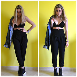 Laura jade Conway - Missguided Bralet, Missguided Trousers, River Island Boots, Urban Outfitters Denim Jacket - Black on Black