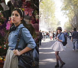 Lessie S - Vintage Denim Shirt, Romwe Leather Bagpack - We can scape to the great sunshine
