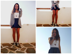 S.t.e.f.f.i.e - Forever 21 Navy Blue Skirt, Forever 21 Grey Cardigan, Converse Navy Blue All Star, Forever 21 Maroon Red Gold Necklace, Bershka Polka Dot Shirt - Love is for free