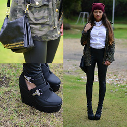 Silvia Fernandez - Guess? Jacket, Forever 21 Wedges, Mango Leather Pants, Aldo Chain, Zara Top - Leather and beanie weather.