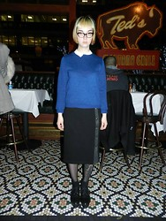 Emily S. - H&M Navy Jumper, H&M White Button Up Blouse, Vintage Black Button Up Pencil Skirt, Cheap Monday Black Platform Pointy Toed Oxfords - Why am i here