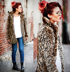Lua P - Nasty Gal Coat, Nasty Gal Jeans, Nasty Gal Boots - Leopard and Jeans