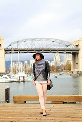 Alexandra G. - Walter Baker Moto Leather Jacket, American Eagle Coated Skinnies, Club Monaco Cashmere Pullover, Club Monaco Striped Men's Scarf, J. Crew Suede Pumps, French Connection Uk Wool Fedora - At First Blush