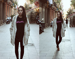 Taru L - Terrible Movement Brainwash Muscle Tee, Topshop Secondhand Fake Fur Jacket, Velvet Pants - Brainwashed