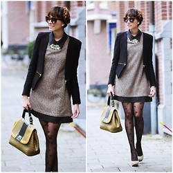"Virgit Canaz - Lookbookstore Preppy Dress, Tightsplease Bow Tights - Bow ""Romwe Giveaway on my Blog"""