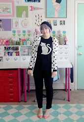 Kate Gabrielle - Oasap Polka Dot Cardigan, Forever 21 Cat Sweater, Bait Footwear Coral And Cream Shoes, Asos High Waisted Black Pants - Trousers and cats