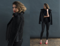 Laura Ellner - Coach Shearling Jacket, Coach Leather Pants, Coach Crewneck Sweater, Coach Coral Pumps - DARK + STORMY