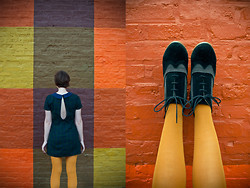 Arielle Marie - Bdg Wing Tip Booties, Modcloth Mustard Yellow Tights, Urban Outfitters Peterpan Collar Plaid Dress - Plaid to be Back