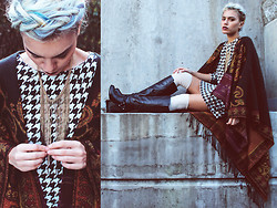 Alanna Durkovich - H&M Houndstooth Dress, Accessory St Boho Shawl, Madeline Stuart Tall Boots - Smitten with a Shawl